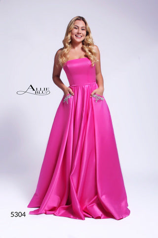 Allie Blu 5304 Long Satin A Line Ballgown Embellished Pockets Prom Dress