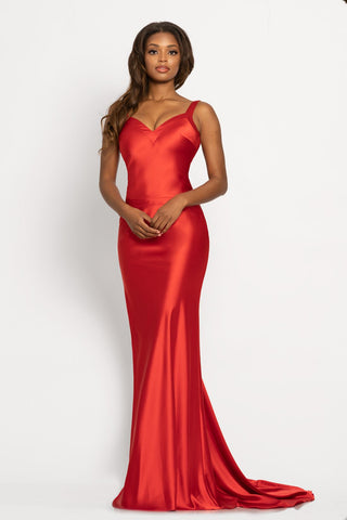 Johnathan Kayne 2244 This is a long crepe back satin prom dress with a v neckline and open back with criss cross straps.  The long skirt on this pageant gown features a sweeping train. A very nice smooth evening gown for you next special day.  Colors  Cherry, Sunflower  Sizes  00, 0, 2, 4, 6, 8, 10, 12, 14, 16