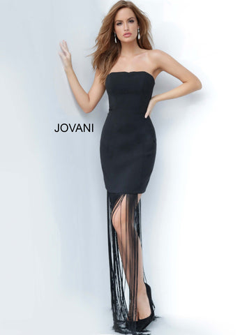 Jovani 1048 short straight neckline long fringe cocktail dress