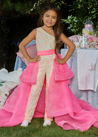 Ashley Lauren 8065 Add a little something extra to your next pageant or special event with an ASHLEYlauren  tiered organza overskirt. The tiers are finished with horsehair.  Colors Neon Green, Hot Pink, Royal, Neon Orange, Black, Fuchsia, Ivory, Red  Sizes 2, 4, 6, 8, 10, 12, 14, 16   Tiered Horsehair Organza Pictured Here with Jumpsuit Style 8048