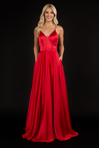Nina Canacci 1518 plunging neckline satin A line prom dress backless corset evening gown  Colors:  Black, Red  Sizes:  0,2,4,6,8,10,12,