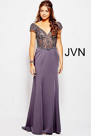 Jovani JVN 53185 Size 12 Long Sheer Lace Cap Sleeve Formal Dress Evening Gown