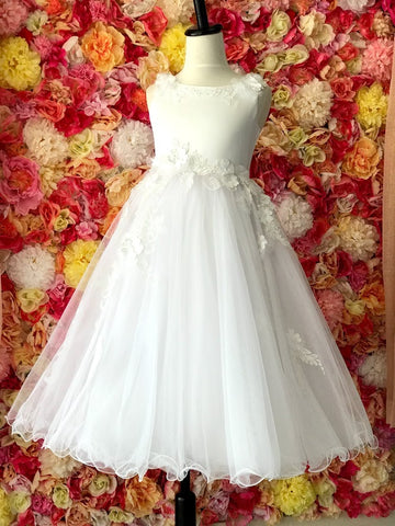 Girls Size 6 Lace & Floral Applique Flower Girl Dress Tea Length High Neck Satin Formal Gown White First Communion Flowers Lace Sequin Embellished Glass Slipper Formals