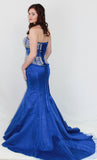 GSF4031T Two Piece Mermaid Gown Royal Blue size 14