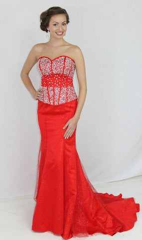 GSF4031T Two Piece Mermaid Gown Red red size 12