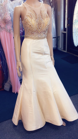 JVN by Jovani 41813 Size 0, 4 Nude Prom Dress Pageant Gown Mermaid