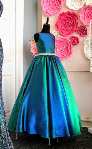 Ashley Lauren 8026 Size 10 Emerald Long Iridescent Girls Pageant Dress Ballgown