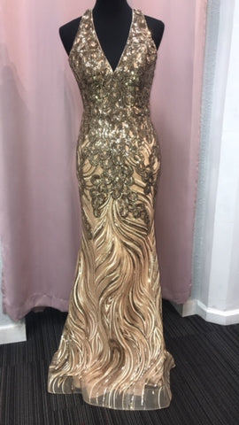 JVN by Jovani 66261 Gold Size Sizes 2 & 6 prom dresses Sequin Embellished Gown