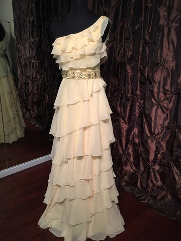 Kathy Hilton Dress Yellow Size 4 formal Evening Ruffle one shoulder crystal