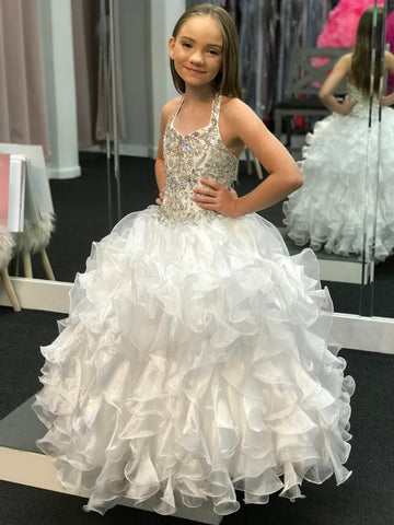 Little Rosie Girls Glitz Pageant Dress Ballgown Ruffle Skirt Halter V Neck Embellished Bodice Size 6 Corset Lace up Back