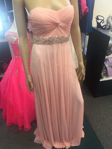 Jovani 27139 Beautiful strapless long dress features a sweetheart neckline with a ruched twist bodice and crystal embellished waistline adornment long prom dress pageant gown evening dress.  Perfect for a military ball or gala!  Blush size 0