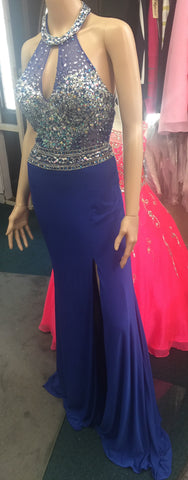 JVN by Jovani 23576 Royal Blue size 4 prom dress pageant gown long sheer