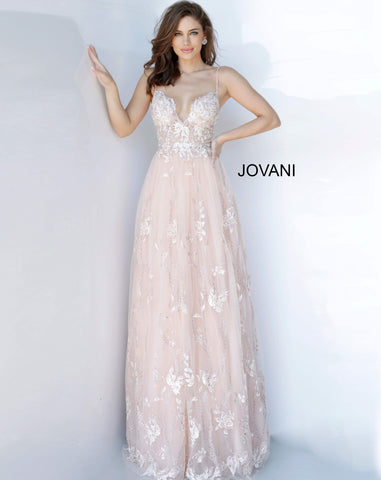 Jovani 1748 scalloped neckline embroidered lace a line prom dress