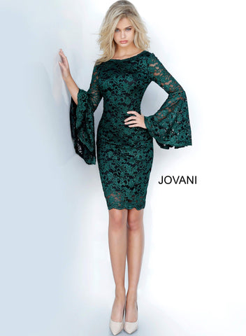 Jovani 03351 Bell sleeves lace short fitted cocktail dress