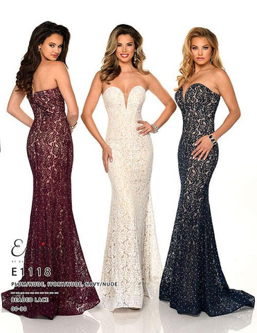 Envious Couture E1118 Ivory/Nude, Navy/Nude, Plum/Nude Sizes 00-30  Strapless sweetheart plunging neckline embellished lace long prom dress informal wedding dress
