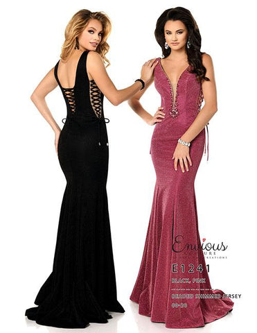 Envious Couture 1241 Size 18 Shimmer Jersey Long Prom Dress Pageant Gown Corset