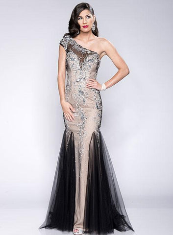Envious Couture 15114 stunning fitted long Prom Dress with a One shoulder design. Escaping tulle flared skirt. Embellished bodice with sheer illusion accents One Shoulder Sheer Prom Dress Pageant Gown  Available Colors: Nude/Black  Available Sizes: 00, 2, 4