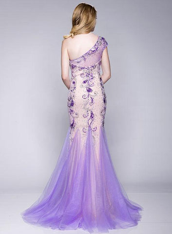 Envious Couture 15114 stunning fitted long Prom Dress with a One shoulder design. Escaping tulle flared skirt. Embellished bodice with sheer illusion accents One Shoulder Sheer Prom Dress Pageant Gown  Available Colors: Lilac