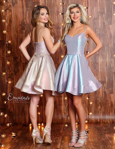 Envious Couture E1325 corset back iridescent homecoming dress