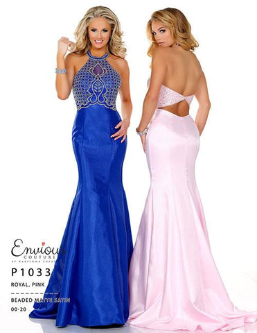 Envious Couture 1033 Royal Size 2 Prom Dress Pageant Gown Mermaid High Neck