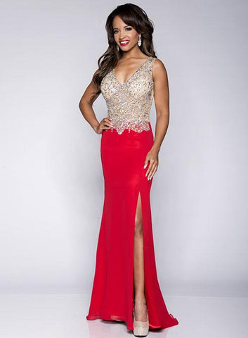 Envious Couture 15190 Cherry Size 0 Prom Dress Pageant Gown sheer embellished v neckline and sheer embellished back long flowy mermaid fit and flare chiffon train with side slit. Perfect pageant gown.