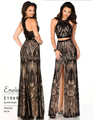 Envious Couture E1069 Size 2  two piece Sequin Lace Dress Formal Gown Slit