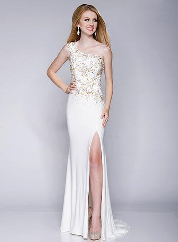Envious Couture 15166 Size 10, 14 Long White Prom Dress Pageant Gown One Shoulder