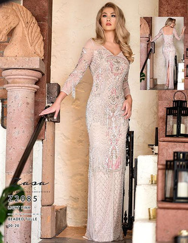 Zasa Chic Z2085 Light Pink Size 2 Beaded Long Sleeve Fringe Dress Formal Mother of