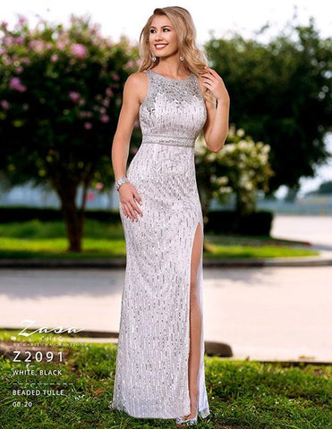 Zasa Chic  Z 2091 White Size 6 Prom Dress Pageant Gown