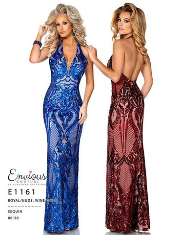 Envious Couture E1161 Royal and Nude Size 14