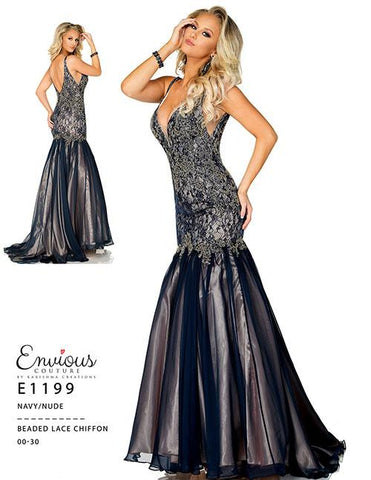 Envious Couture E 1199 beaded chiffon and lace mermaid prom dress