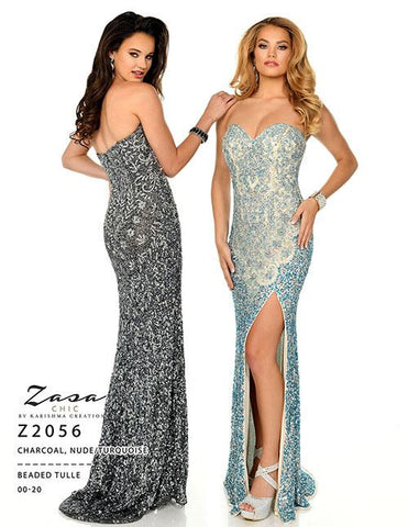 Zasa Chic 2056 Size 8 Beaded Long Strapless Prom Dress Pageant Gown