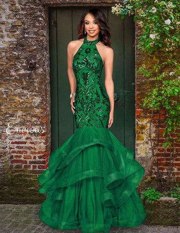 Envious Couture 18034 high neckline sequin mermaid prom dress Ruffle Gown