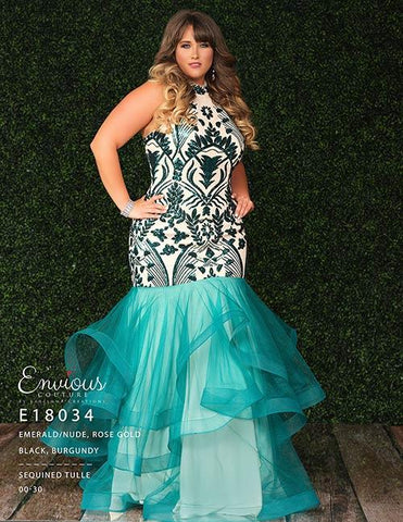Envious Couture 18034 high neckline sequin mermaid prom dress Plus Size Gown 2020