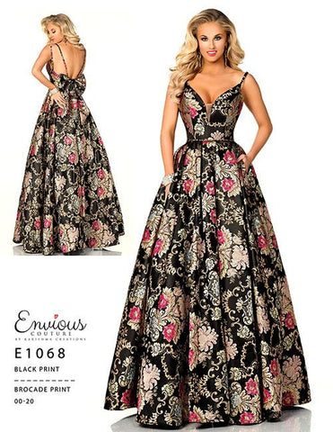 Envious Couture 1068 Black Print Size 20 Prom Dress