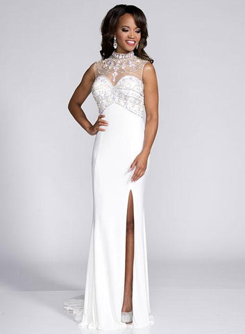 Envious Couture 15134 Ivory/Nude Sizes 0 and 8 Prom Dress Pageant Gown  High necklIne embellished with stones long prom dress with a side slit.   Fabric: JERSEY Available In:  IVORY/NUDE,