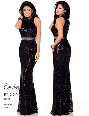 Envious Couture E1270 Black Size 14 Sequin Fitted Evening Dress Formal Gown