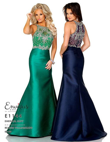 Envious Couture E1144 Size 8 Prom Dress Pageant Gown Mermaid High Neck
