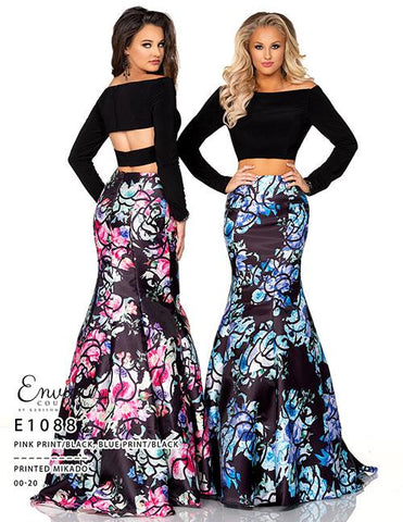 Envious Couture E1088 two piece floral print mermaid prom dress