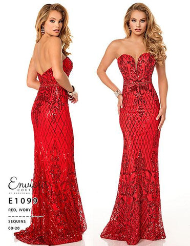 Envious Couture E1099 Red  Sizes 0 Prom Dress Pageant Gown  A strapless sweetheart beaded sequin prom dress.  Envious Couture style 1099