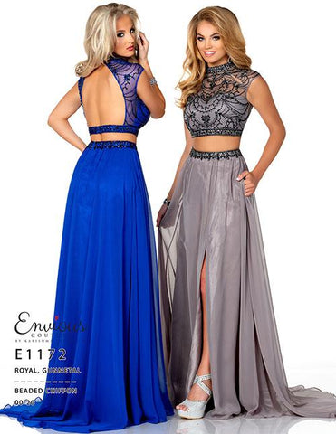 Envious Couture E1172 Royal Size 8 Two piece prom dress backless maxi slit