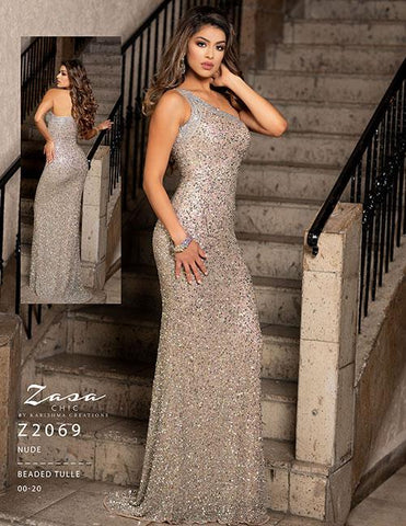 Zasa Chic by Karishma Creations z 2069 Nude Size 00 Prom Dress Pageant Gown One shoulder strap fully beaded sequin evening gown prom dress