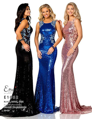 Envious Couture 1062 Royal Size 4 sequin prom dress High Neck Sheer Floral Gown