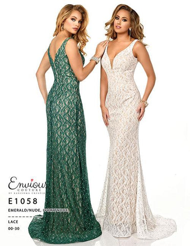 Envious Couture E 1058 embellished lace prom dress