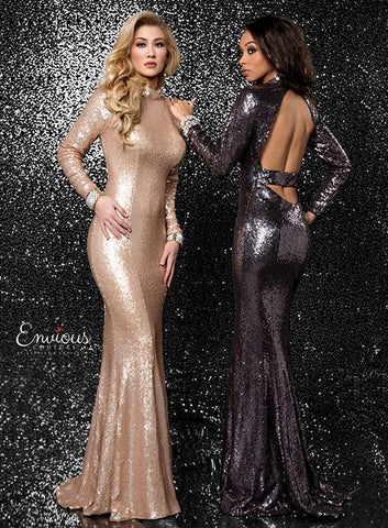 Envious Couture 18505 Champagne Size 6, 8 and 10 Prom Dress Pageant Gown
