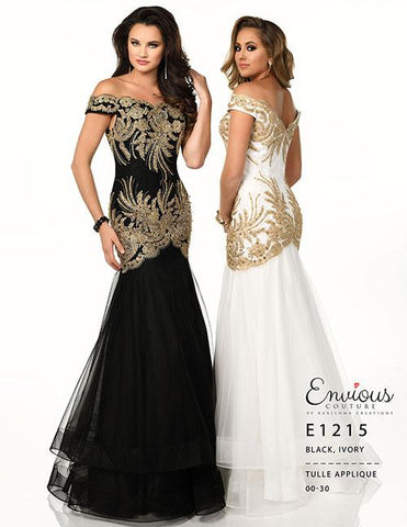 Envious Couture E1215 Black Size 18 Off the shoulder prom dress