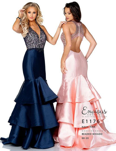 Envious Couture E1176 Pink, Navy Sizes 00-20 Evening gown pageant dress   Mermaid prom dress with beaded mikado top and ruffle mermaid skirt  Envious Couture style 1176
