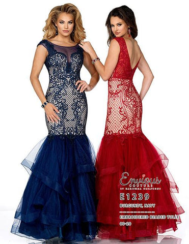 Envious Couture E1239   Mermaid embroidered tulle prom dress with sheer neckline embroidered cap sleeves with a v back. Long Mermaid Fit & Flare Prom Dress, Pageant Gown.