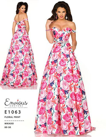 Envious Couture E1063 Floral Print a line prom dress