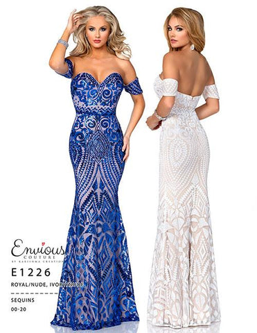 Envious Couture E1226 off the shoulder embellished prom dress